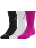 YK604 キッズ ジョーダン  Jumpman クルーソックス 3足セット 靴下 ソックス Jordan Crew Socks 黒白ホットピンク 18-20cm 【メール便対応】