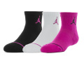 YK605 キッズ ジョーダン  Jumpman クォーターソックス 3足セット 靴下 ソックス Jordan Socks 黒白ホットピンク 18-20cm 【メール便対応】