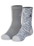 BK333  ジュニア ジョーダン エレファント柄 クルーソックス 2足セット 靴下 Jordan Crew Socks 白灰 22-25cm 【メール便対応】