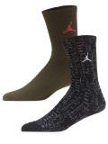 BK335  ジュニア ジョーダン クルーソックス 2足セット 靴下 Jordan Crew Socks 黒オリーブグリーン 22-25cm 【メール便対応】