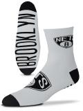 SS153 【メール便対応】 For Bare Feet NBA ブルックリン・ネッツ Brooklyn Nets クォーターソックス 白黒