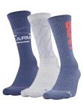 SS177 Under Armour Phenom 3 Pack Crew Socks アンダーアーマー  クルーソックス 3足セット 靴下 灰青系【メール便対応】