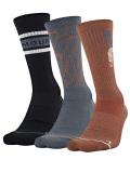 BK360 Under Armour Phenom Crew Socks アンダーアーマー クルーソックス 3足セット 靴下 23~26.5cm 黒灰オレンジ 【メール便対応】