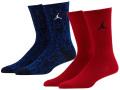 BK376 ジュニア Jordan Crew Socks ジョーダン クルーソックス 2足セット キッズ バスケットボール 靴下 赤青 22cm-25cm 【メール便対応】