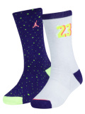 BK375 ジュニア Jordan Crew Socks ジョーダン クルーソックス 2足セット キッズ バスケットボール 靴下 紫白黄緑 22cm-25cm 【メール便対応】