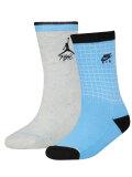 YK658 キッズ 子供用 Jordan Flight Crew Socks ジョーダン クルーソックス 2足セット 靴下 灰水色黒 20cm-23cm  【メール便対応】