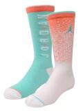 BK398 ジュニア Air Jordan Crew Socks ジョーダン クルーソックス 2足セット 靴下 オレンジ白エメラルドグリーン 22cm-25cm 【メール便対応】