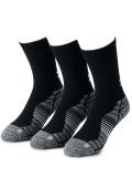BK397 Under Armour Elevated Socks アンダーアーマー クルーソックス 3足セット 靴下 23~26.5cm 黒灰 【メール便対応】