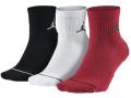 BK184 【メール便対応】 Jordan Jumpman 3 Pack Quarter Socks ジョーダン ドライフィット クォーターソックス 3足セット 黒白赤 Mサイズ