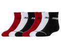 YK548 【メール便対応】 キッズ Jordan Quarter Socks ジョーダン クォーターソックス 6足セット 黒白赤【18-20cm】