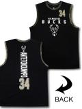 NB565 メンズ  NBA バックス ヤニス・アデトクンボ トレーニング ノースリーブ UNK Milwaukee Bucks Giannis Antetokounmpo ジャージ 黒白カモフラージュ 【メール便対応】