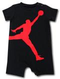 BT079 ベビー ジョーダン ロンパース Jordan Big Jumpman Logo Rompers ベビー服 赤ちゃん 黒赤 【メール便対応】