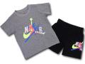 BP016 キッズ 子供用 ジョーダン Tシャツ&ハーフパンツ セットアップ Jordan Jumpman Classics Toddler Set ダークグレー黒 【メール便対応】