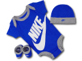 BH876 べビー ナイキ ロンパース3点セット Nike Infant Set 帽子 靴下 ギフトセット 青灰白【箱付き】