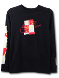 NK441 ジュニア ナイキ ロングスリーブ Tシャツ Nike Long Sleeve T-Shirt キッズ 長袖 黒赤ネオンイエロー 【メール便対応】
