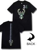 NB568 メンズ NBA バックス ヤニス・アデトクンボ トレーニングTシャツ UNK Milwaukee Bucks Giannis Antetokounmpo アンク 黒モスグリーン  【メール便対応】