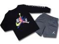 BP026 キッズ 子供用 ジョーダン ロングスリーブTシャツ&ショーツ セットアップ Jordan Jumpman Classics Toddler Set 長袖 黒ダークグレー 【メール便対応】