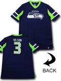 KO467 メンズ NFL シーホークス ラッセル・ウィルソン トレーニングTシャツ Fanatics Seattle Seahawks Russell Wilson アメフト 紺黄緑 【メール便対応】
