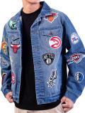 NJ325 メンズ Ultra Game NBA Teams Denim Patch Jean Jacket チームロゴ デニムジャケット