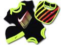 BH882 べビー ナイキ ロンパース3点セット Nike Infant Set スタイ 帽子 ギフトセット 黒ネオングリーン【箱付き】