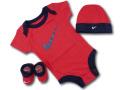 BH881 べビー ナイキ ロンパース3点セット Nike Infant Set 帽子 靴下 ギフトセット 赤紺白【箱付き】