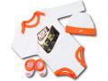BH879 べビー ナイキ ロンパース3点セット Nike Infant Set 帽子 靴下 ギフトセット 長袖 白ネオンオレンジ【箱付き】