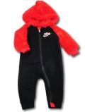 BY236 ベビー ナイキ もこもこフード付き カバーオール Nike Infant Coverall ベビー服 赤ちゃん 黒ブライトオレンジ