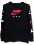 LL557 ジュニア ジョーダン ロングスリーブTシャツ Jordan Youth Long Sleeve T-Shirt キッズ 長袖 黒赤白 【メール便対応】