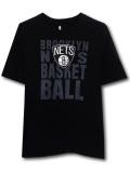 NK446 ジュニア NBA ブルックリン・ネッツ Tシャツ Brooklyn Nets キッズ トップス 黒灰白 【メール便対応】
