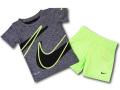 BP822 【メール便対応】 リトルキッズ Nike ナイキ トレーニングシャツ&パンツ セットアップ ダークグレーネオングリーン【ドライフィット】