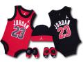 BH815 べビー ジョーダン ロンパース 5点セット Jordan Infant Set 帽子 靴下 ギフトセット 赤黒白【箱付き】
