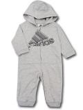 BO041 ベビー アディダス フード付きカバーオール adidas Hooded Coverall Baby ベビー服 赤ちゃん 灰黒  【メール便対応】