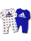 BO042 ベビー アディダス カバーオール 2枚セット adidas Infant Coverall ベビー服 赤ちゃん 白青紺 【メール便対応】