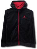 OK922 ジュニア ジョーダン ベロアパーカー Jordan Velour Zip-Up Hoodie キッズ ユース ジップアップ 黒赤