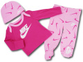 BY240 ベビー/ガールズ ナイキ ロングスリーブTシャツ 3点セット Nike Infant Set Baby 赤ちゃん セットアップ ピンク白 【メール便対応】