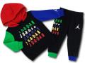 BT108 ベビー ジョーダン パーカー&パンツ セットアップ Jordan Infant Set 子供服 キッズ 黒マルチカラー