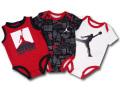 BT109 ベビー ジョーダン ロンパース 3枚セット Jordan Rompers 赤ちゃん ベビー服 赤黒白 【メール便対応】