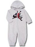 BT113 ベビー ジョーダン フード付き カバーオール Jordan Jumpman Classics Coverall ベビー服 赤ちゃん ライトグレー黒赤 【メール便対応】