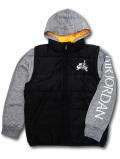 OK931 ジュニア ジョーダン 重ね着風 中綿ジャケット Jordan Jumpman Classics Zip-Up Hoodie Jacket キッズ ユース 黒灰白