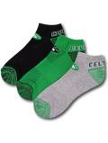 SS215 NBA ボストン・セルティックス ローカットソックス 3足セット UNK Boston Celtics No Show Socks アンク 靴下 黒緑灰 【メール便対応】