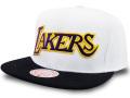 CN224 ミッチェル&ネス NBA ロサンゼルス・レイカーズ スナップバックキャップ Mitchell & Ness Los Angeles Lakers Snapback Cap 帽子 白黒