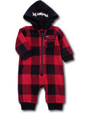 BO045 ベビー ハーレー フード付き フリースカバーオール Hurley Infant Coverall ベビー服 赤ちゃん 赤黒白