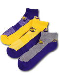 SS214 NBA ロサンゼルス・レイカーズ ローカットソックス 3足セット UNK Los Angeles Lakers No Show Socks アンク 靴下 紫黄色灰 【メール便対応】