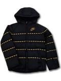 OK937 ジュニア ナイキ フード付き ダウンジャケット Nike Sporswear Down Jacket キッズ ユース 黒メタリックゴールド