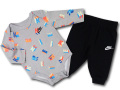 BY260 ベビー ナイキ ロンパース&パンツ セットアップ Nike Rompers Set ベビー服 赤ちゃん 灰黒 【メール便対応】