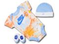 BH887 べビー ナイキ ロンパース3点セット Nike Infant Set 帽子 靴下 ギフトセット 水色白【箱付き】