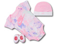 BH888 べビー ナイキ ロンパース3点セット Nike Infant Set 帽子 靴下 ギフトセット ピンク白【箱付き】