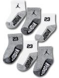 BA663 ベビー ジョーダン ソックス 6足セット Jordan Socks ベビー服 赤ちゃん 靴下 白灰黒 【メール便対応】