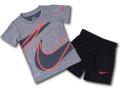 BP825 【メール便対応】 リトルキッズ Nike ナイキ トレーニングシャツ&パンツ セットアップ ダークグレー黒インフラレッド【ドライフィット】