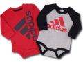 BO049 ベビー アディダス ロンパース 2枚セット adidas Infant Rompers ベビー服 赤ちゃん 長袖 赤灰黒 【メール便対応】